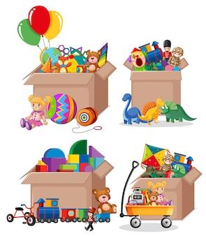 Aantal dozen vol speelgoed op wit