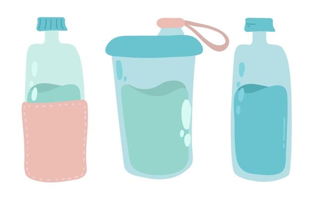 Aantal flessen illustratie. herbruikbare container voor vloeistoffen. geen afvalconcept, redelijk verbruik, geen plastic.
