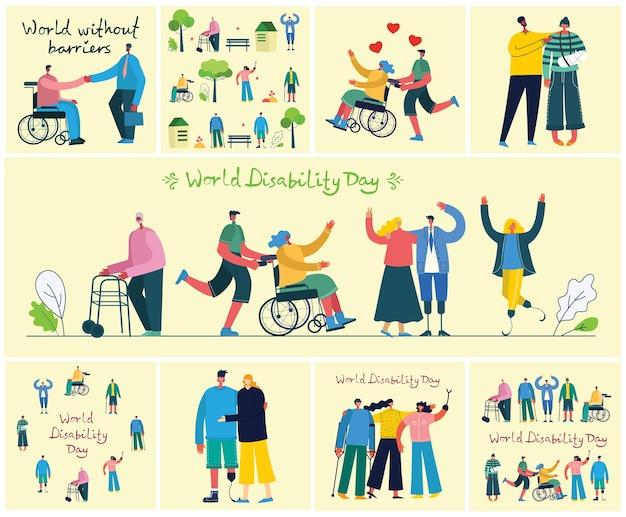 Aantal gehandicapten, mannen en vrouwen die helpen. wereld zonder grenzen. plat moderne stripfiguren.