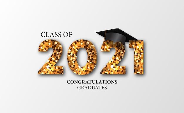 Aantal gouden glittereffect voor afstudeerklasse van onderwijs voor luxe feestevenement met witte achtergrond
