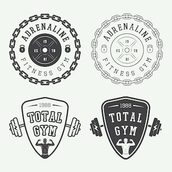 Aantal gym logo's, labels en badges in vintage stijl