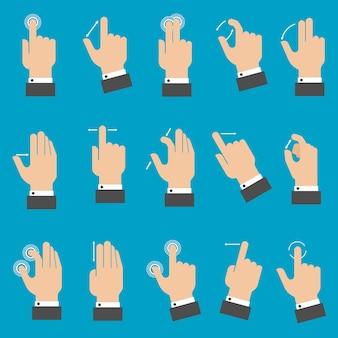 Aantal handen met multitouch-gebaren voor tablet of smartphone op blauwe achtergrond