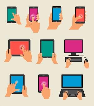 Aantal handen met tablet en smartphones