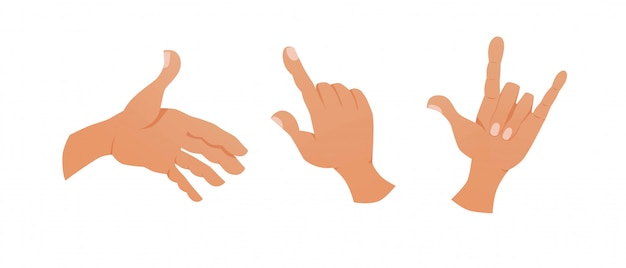 Aantal handen met verschillende gebaren.