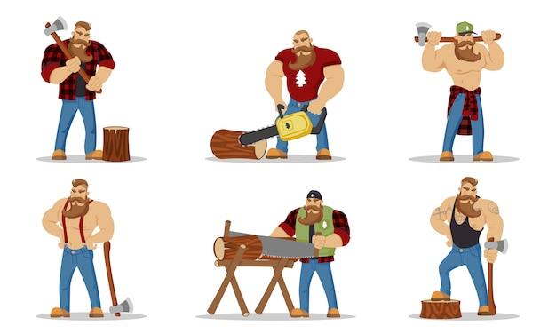 Aantal houthakkers brute bebaarde mans in rood geruit overhemd met bijl in handen. houthakkers. wandelen en reizen concept. arbeider timmerhout met hout, karakter cartoon houthakker op de witte achtergrond.