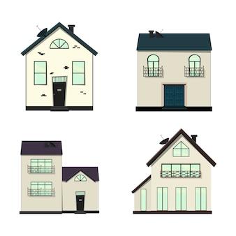Aantal huizen op wit voor bouw en design.