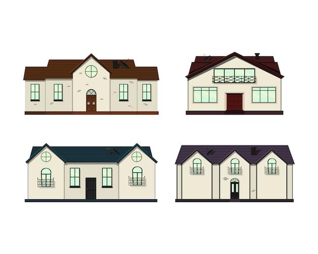 Aantal huizen op wit