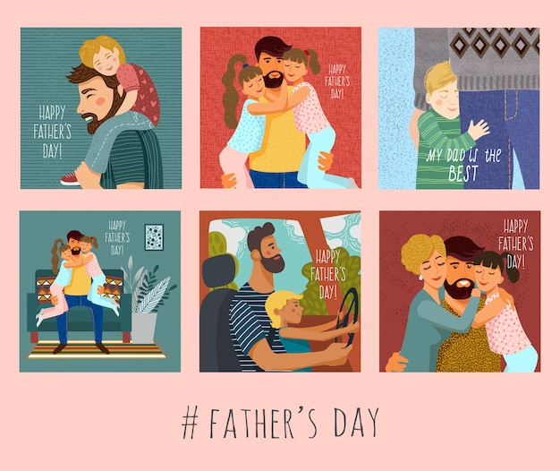 Aantal illustraties met vader en kinderen