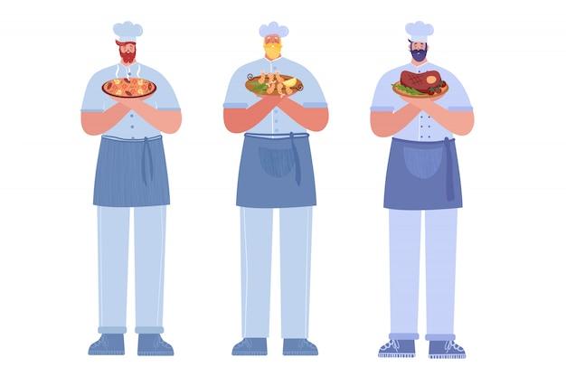 Aantal illustraties van koks met verschillende gerechten.