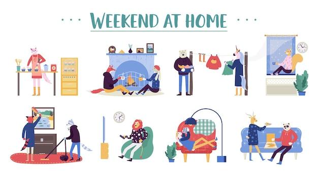 Aantal jonge mannen en vrouwen weekend thuis doorbrengen. praat bij de open haard, kook samen eten.