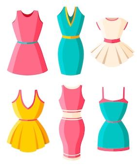 Aantal jurken. kleding voor dames. vrouwelijke felgekleurde zomerjurken. . illustratie op witte achtergrond. website-pagina en mobiele app.