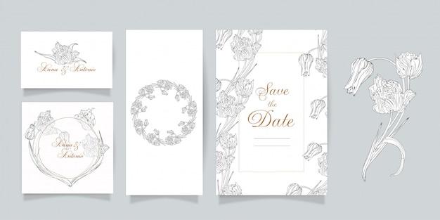 Aantal kaarten en uitnodigingen met bloemen. lente bloemen. tulpen.