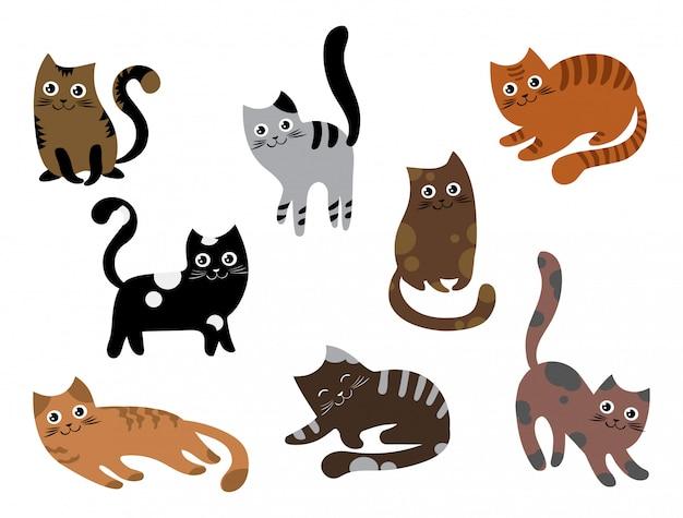 Aantal katten. een verzameling cartoonkittens in verschillende kleuren. speelse huisdieren.