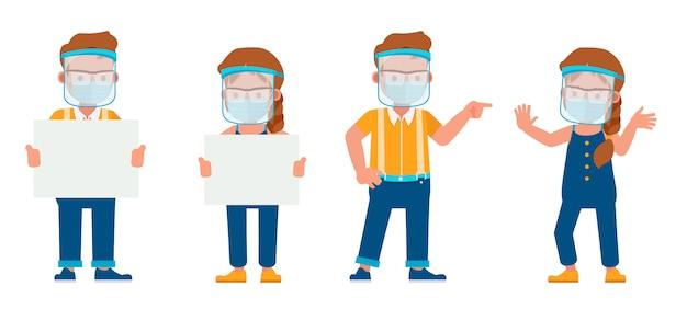 Aantal kinderen dragen medische masker en gezicht schild karakter. presentatie in verschillende acties met emoties.