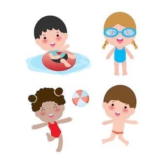 Aantal kinderen in een zwembad, kinderen voor het zomerseizoen.