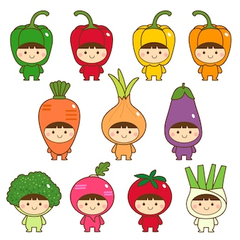Aantal kinderen in schattige groenten kostuums