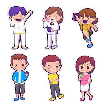 Aantal kinderen in stripfiguur met dagelijks leven op witte achtergrond, geïsoleerde illustratie