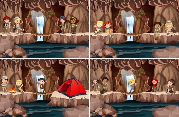Aantal kinderen kamperen in de grot