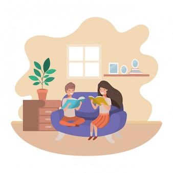 Aantal kinderen met boek in woonkamer avatar karakter