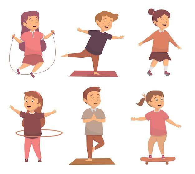 Aantal kinderen met leuke activiteiten concept illustation