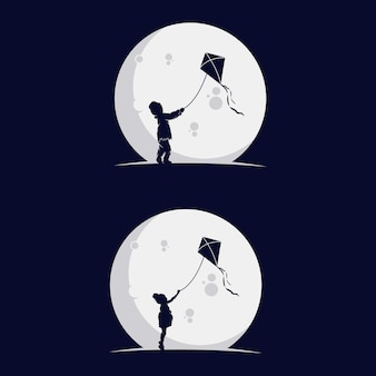 Aantal kinderen spelen vliegersilhouet in de maan