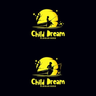 Aantal kinderen vissen sterren in het maan-logo