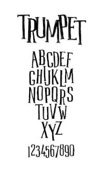 Aantal letters, alfabet. hobbelig langwerpig lettertype.