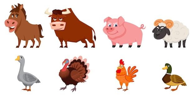 Aantal mannelijke dieren zijaanzicht. boerderijdieren in cartoon-stijl.