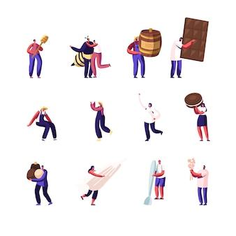 Aantal mannelijke en vrouwelijke karakters imkers extraheren honing, mensen met chocolade en snoep, koken gebak, verzamelen katoen geïsoleerd op een witte achtergrond.