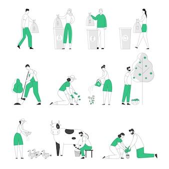 Aantal mannelijke en vrouwelijke personages afval verzamelen voor recycling
