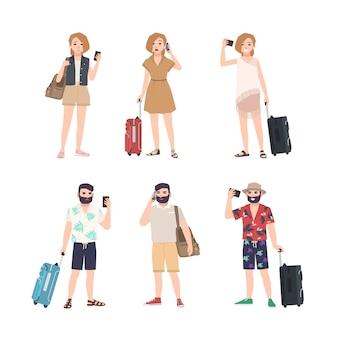 Aantal mannelijke en vrouwelijke reizigers met smartphones die zich in verschillende poses bevinden