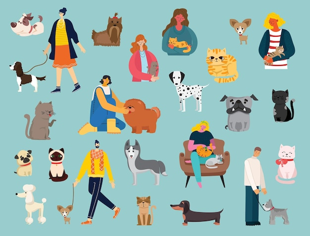 Aantal mannen en meisjes met schattige katten en honden