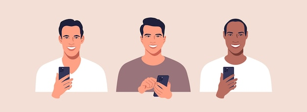 Aantal mannen van verschillende naties met mobiele telefoon in handen illustratie