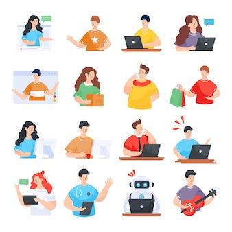 Aantal mensen activiteiten platte illustraties