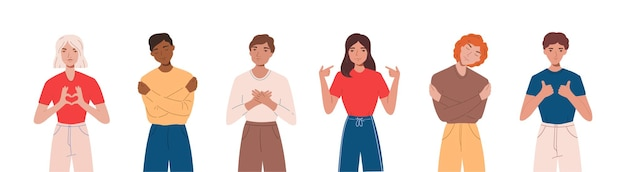 Aantal mensen die positieve emoties uiten, glimlachen, handgebaren maken en zichzelf knuffelen. concept van eigenliefde en zelfacceptatie. flst cartoon afbeelding