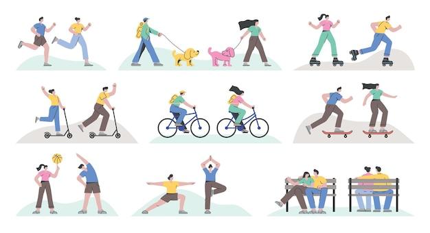 Aantal mensen die skateboarden, fietsen, rolschaatsen rennen, kick-scooten, yoga doen en rusten