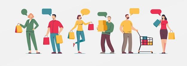 Aantal mensen die winkelen platte karakters met tassen geïsoleerd op blauwe achtergrond