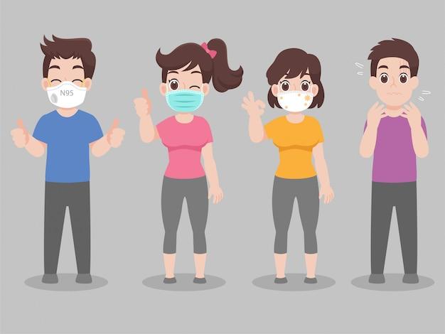 Aantal mensen dragen gezichtsmasker met verschillende soorten gezichtsmasker