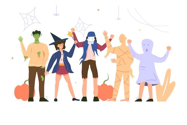Aantal mensen gekleed in verschillende enge kostuums voor de vakantie halloween geïsoleerd op een witte achtergrond, vlakke afbeelding