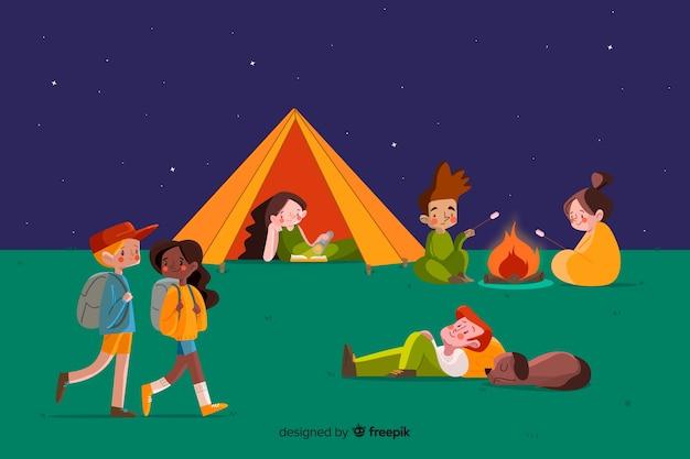 Aantal mensen kamperen platte ontwerp
