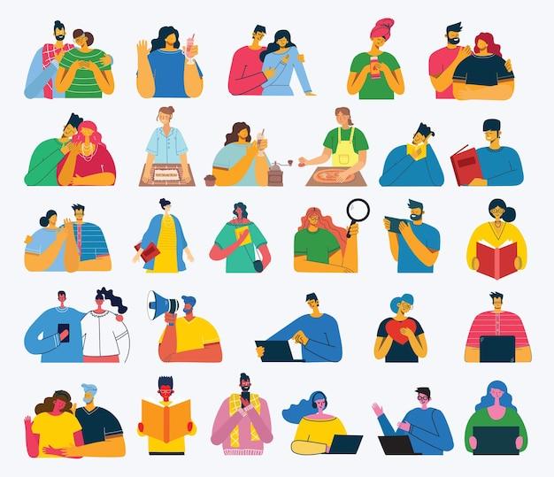 Aantal mensen, mannen en vrouwen, gezin met kinderen leest boek, werkt op laptop, zoekt met vergrootglas, communiceert.