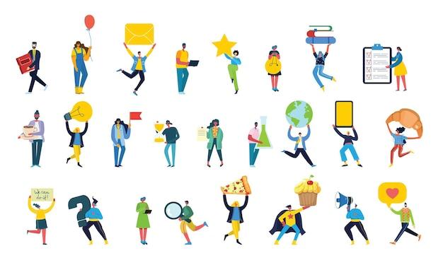 Aantal mensen, mannen en vrouwen met verschillende tekens - boek, werk op laptop, zoek met vergrootglas, communiceer.