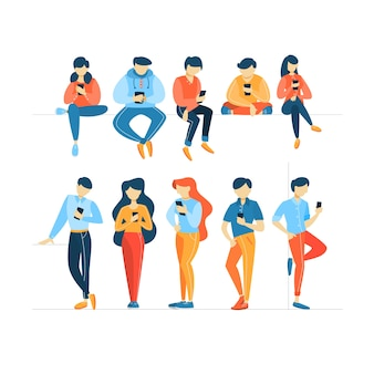 Aantal mensen met behulp van mobiele telefoons.