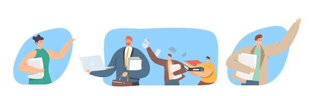 Aantal mensen met papierwerk. zakelijke karakters met grote hoop documenten en mappen. kantoormedewerkers bij baan, erg drukke dag, boekhoudbureaucratie, deadlineconcept. cartoon vectorillustratie