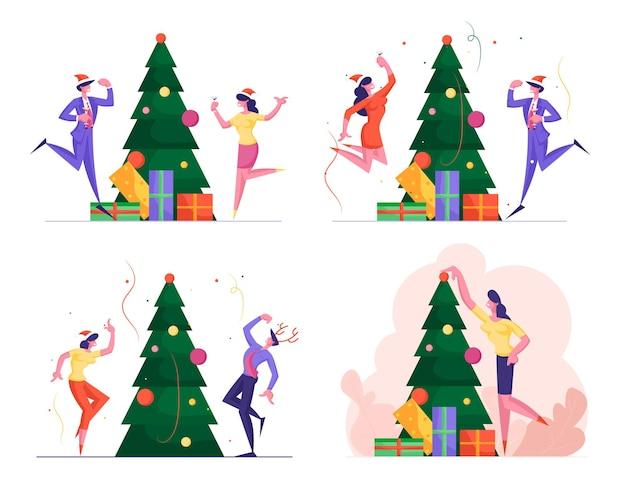 Aantal mensen uit het bedrijfsleven hebben plezier op office christmas party in gezelschap van gelukkige collega's
