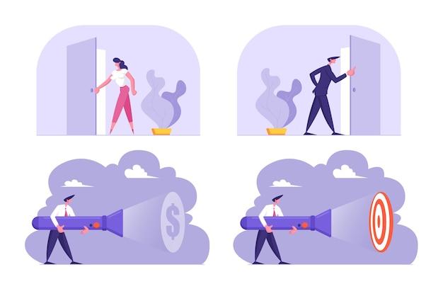 Aantal mensen uit het bedrijfsleven permanent bij de ingang van de open deur op zoek naar binnen, verlichting naar doel