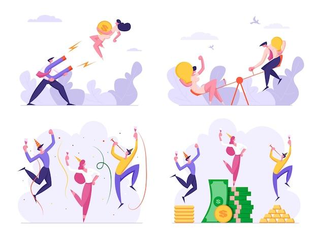 Aantal mensen uit het bedrijfsleven vieren succes drinken en dansen op stapels geld