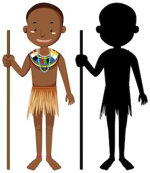 Aantal mensen van afrikaanse stammen karakter met zijn silhouet
