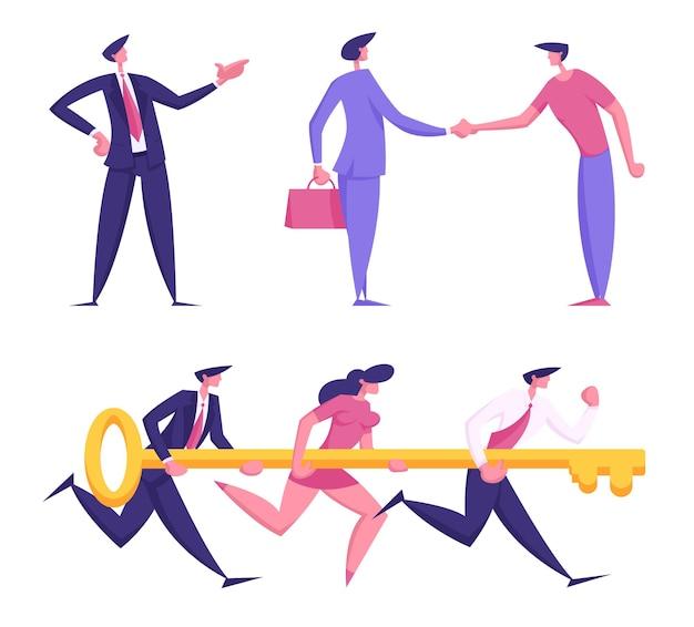 Aantal ondernemers mannelijke en vrouwelijke karakters handen schudden