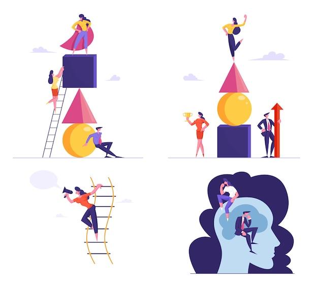Aantal ondernemers piramide van geometrische figuren bouwen